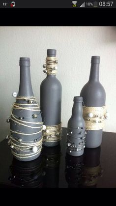 Diy Wine Bottle Crafts diy wine bottle crafts with twine Empty Wine Bottles, Wine Bottle Art, Painted Wine Bottles, Diy Bottle, Bottles And Jars, Glass Bottles, Decorated Bottles, Bottle Lamps, Recycle Wine Bottles