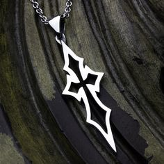 Thin Pointed Outline - Sterling Silver Contemporary Christian Cross Necklace Pendant David Daffer Designs  #daviddafferdesigns Arrow Necklace, Pendant Necklace, Sterling Silver Cross, Box Chain, Outline, Two By Two, Clean Lines, Pendants