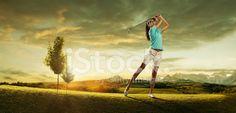 Woman Golfer Hitting The Ball on Background Scenery Beautiful ...