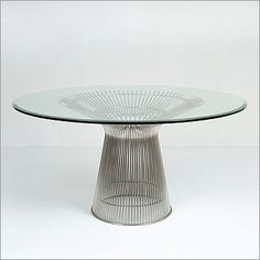 Platner: Round Dining Table Reproduction | ModernClassics.com featuring stainless steel wire and tempered glass top.  This table is stunning!
