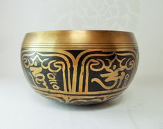 Tibetan Singing Bowl Brass Black Painted Etched Character Vintage Artefact by BelieveToBeBeautiful on Etsy