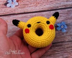 Ready to Ship Little fun toy Donut Pokemon Pikachu from the Pokemon. Toy hand made with love. Pokemon Pikachu will become your favorite toy. _______________________________  Color: one color available, open custom order to request another color. Material: 100% Polyester Fiberfill, 55% Cotton Yarn, 45% Acrilyc Yarn, Safety Eyes, Felt. Age guide: 3 + Care: hand wash 30 ° C _____________________________________________________________  Size: about 10 cm / 3.9 inches in height ______________...