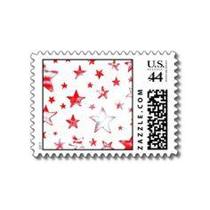 Red Stars USA Postage Stamp