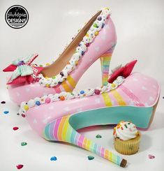 I like to create unique heels! And it's been my dream to create something this sweet for a few years now today I finally did it! Prom Heels, Wedding Heels, Cute Shoes, Me Too Shoes, Disney Heels, Crazy Heels, Tokyo Fashion, Kawaii Shoes, Unique Heels
