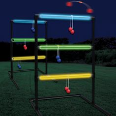 Find Glow In The Dark Yard Games. Surprise the kids and add some more fun to yard games. With glow in the dark equipment it's easy! Just check the inspiration below and choose from glow sticks, yarn, rocks, bocce balls and many more. Home Party Games, Backyard Party Games, Diy Yard Games, Adult Party Games, Diy Games, Adult Games, Relay Games, Lawn Games, Glow Stick Party