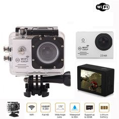 Ausek 1080P 30fps 16MP Full HD Sports Action Camera w/ HD Port 2 Inch LCD Built in 900mAh Battery