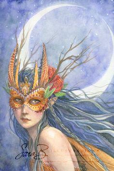Fairy in Gold Art Print - Owl Mask - Autumn Masquerade - Warrior Princess Magical Creatures, Fantasy Creatures, Dragons, Owl Mask, Masks Art, Beautiful Fairies, Illustrations, Fairy Art, Canvas Prints
