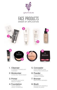Overwhelmed with how to put all those products on? Here's a simple list of products and when to put them on. Face wash, primer, moisturizer, concealer, foundation, bronzer & blush. Makeup. Younique.