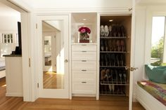 Storage, Built In Drawers And Shoes Closet Organizer A Bench Full Length Mirror With White Frame Wood Flooring System ~ Built In Drawers: The Benefits