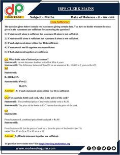 #DP   IBPS Clerk Mains - Data Sufficiency    02 - 01 - 18 http://www.mahendraguru.com/2018/01/dp-previous-year-question-asked-in-ssc.html