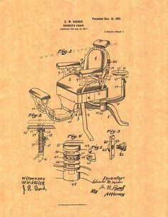 Barber's Chair Patent Art Print by FrameAPatent on Etsy, $5.95
