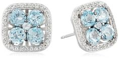 Rhodium Plated Sterling Silver Round Sky Blue Topaz 4mm and Created White Sapphire Cushion Stud Earrings >>> Click on the image for additional details. (This is an Amazon Affiliate link and I receive a commission for the sales)
