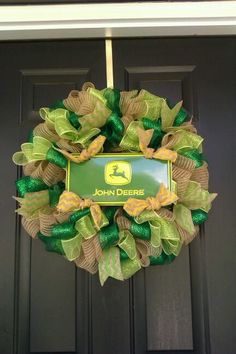 John Deere Burlap, deco mesh wreath on Etsy, $35.00