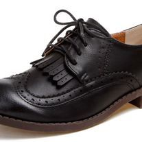 "♦Try a menswear-inspired look in the tasseled oxford! The lace up front and brogue styling adds the perfect amount of interesting trend to any outfit.  •	Faux leather upper •	Pigskin lining •	Center tassel accents •	Wingtip and brogue details •	Round toe •	0.6"" block heel •	Rubber s..."