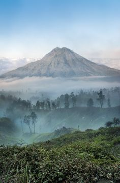 This is a volcano that we could see on our walk down Ijen on the island of Java.  The sun was coming up and you could see a few volcanoes poking up through the clouds. It's a stunningly beautiful part of Indonesia.
