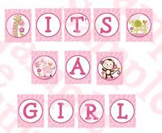 "Jungle Girl Animals Digital Baby Shower ""It's A Girl"" Banner U Print yourself $6.00"