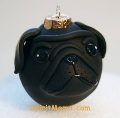 Every tree should have a pug! Black Pug Wrinkle Dog Round Tree Ornament Dog Breed by SpiritMama, $25.00