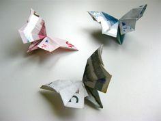 Origami Geldschein Schmetterling falten mit Anleitung