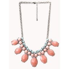 FOREVER 21 Heirloom Faux Gemstone Bib Necklace ($9.80) ❤ liked on Polyvore featuring jewelry, necklaces, gemstone jewelry, cluster necklace, short necklaces, short chain necklace and forever 21 jewelry