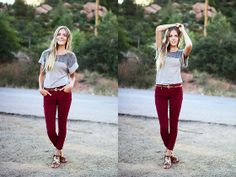Astars Grey Top, Forever 21 Red Pants, Q Sandals
