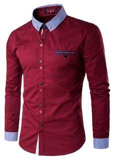 Camisa Moderna Juvenil para la Oficina - Cuello y Puños a Rayas - en 5 Colores