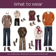 Fall Family Photo - outfit ideas picture-this Family Photo Colors, Family Picture Outfits, What To Wear Fall, How To Wear, Family Portraits What To Wear, Fall Portraits, Portrait Ideas, Senior Portraits, Fall Family Pictures
