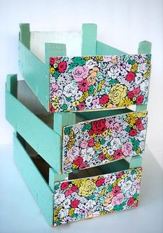 Upcycled Clementine Crates from What to do with Lemons! Home Crafts, Diy And Crafts, Crate Crafts, Diy Organisation, Camping Crafts, Do It Yourself Projects, Crafty Projects, Decorative Boxes, Couture