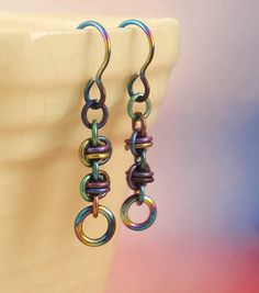 Peacock Niobium Twist of Fate Earrings - Short Petite Chainmaille Style. $24.00, via Etsy.