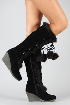 Black Pom Pom Fur Lace Up Wedge Boot Vegan: Disclosure: Affiliate Link Lace Up Wedge Boots, Knee High Wedge Boots, Lace Up Wedges, Wedge Shoes, Heeled Boots, Fur Boots, Shoe Boots, Boot Heels, Women's Shoes