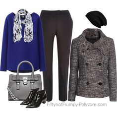 Winter Gray by fiftynotfrumpy on Polyvore featuring Uniqlo, H&M, River Island, Topshop, Michael Kors and Halogen