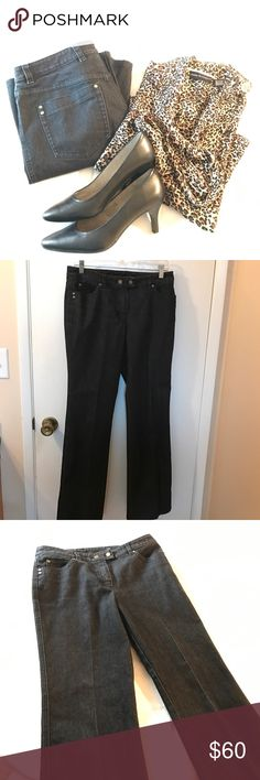 Dark wash Escada trouser jeans These trouser jeans are in excellent condition!  Dark in color, with sharp crease down the legs.  Size 38.  Waist is 15 inches.  Inseam is a hair under 32 inches.  Rise is 9.5 inches (to top of waist band).  Total length is 41.5 inches.  Legs at narrowest point are 8 inches and at bottom are 9 inches. Escada Jeans