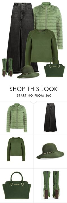 """""""Betmar Green Hannah Floppy Hat With Gold Buckle"""" by bodangela ❤ liked on Polyvore featuring Peuterey, Alexander Wang, TIBI, Betmar, MICHAEL Michael Kors and Boohoo"""