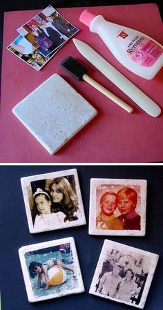 Custom photo tile coasters! So easy to make. -- Easy DIY cheap gift ideas for Christmas, birthdays, boyfriends, girlfriends, family, friends and more! These simple, last minute crafts and projects make for special gifts anyone can do! Creative ideas to sell too! Listotic.com