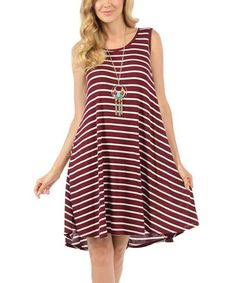 Look at this #zulilyfind! White & Burgundy Thin-Stripe Hi-Low Tank Dress #zulilyfinds