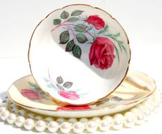 Antique Tea cup and Saucer. Red Roses English Tea Cup Fine