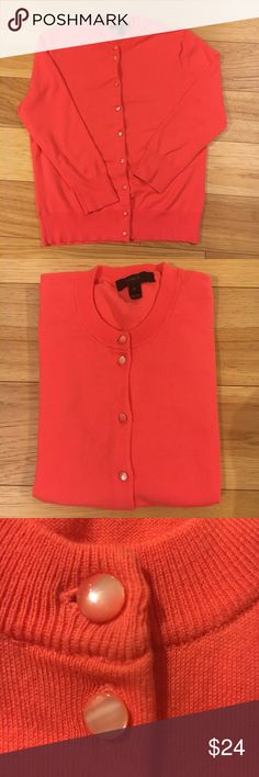 """J. Crew CORAL """"Jackie"""" lightweight cotton sweater J.Crew Light & bright classic, cotton, 3/4 length sleeve sweater with pearlized buttons. Perfect wardrobe addition to your closet! Excellent condition. Size M runs a bit small. J. Crew Sweaters Cardigans"""