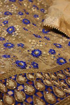 Royal blue gold embroidered salwar suit