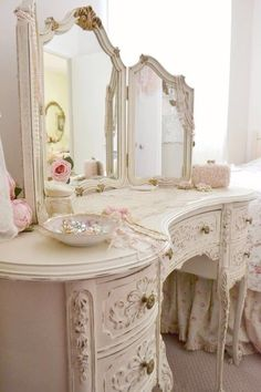 Antique dressing vanity for master bathroom in lieu of built in