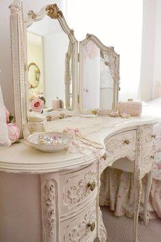 Antique dressing vanity for master bathroom in lieu of built in