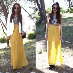 Black White Tribal Crop Top + Neon Yellow Sheer Maxi Skirt