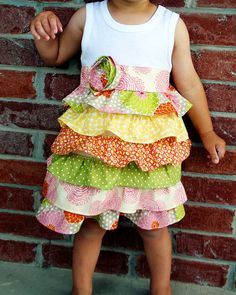 Blush--- Little girl ruffle tank top dress with matching headband. $26.00, via Etsy.