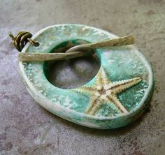 Wishes and Starfishes Toggle Pendant by humblebeads.  Polymer clay and paint.