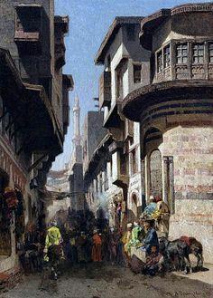 Animated Street In Cairo , 1861 BY Alberto Pasini - Italian , 1826-1899  Oil on canvas