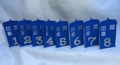 Doctor Who Tardis Table Number Wedding. Again, might be a little too formal, but quite easy to whip out! I just finished making a Tardis cut file. ;)