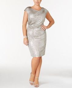 Connected Plus Size Metallic Draped Sheath Dress | macys.com