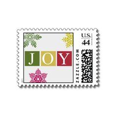 Joy Christmas Snowflakes Postage