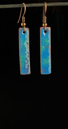 Enameled Copper Earrings by driftnbleu on Etsy