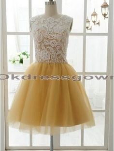 2015 In Stock Youthful Scoop Homecoming Dresses Sleeveless Mini Ball Gown Prom Cocktail Party Dress Ball Gowns Evening, Ball Gowns Prom, Ball Dresses, Unique Bridesmaid Dresses, Yellow Bridesmaid Dresses, Bridesmaid Ideas, Prom Dress 2014, Homecoming Dresses, Rainbow Wedding Dress