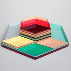 KALEIDO, lacquered steel trays, HAY, available in five clever geometric shapes for multiple uses - deco and design