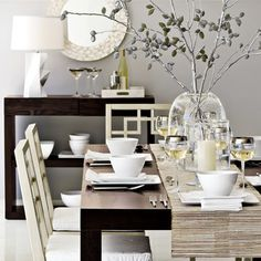 Dining Room: table setting- like the white against the expresso- brightens up the table